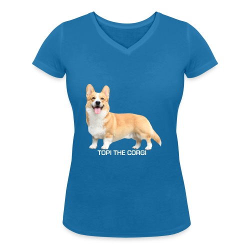 Topi the Corgi - White text - Women's Organic V-Neck T-Shirt by Stanley & Stella