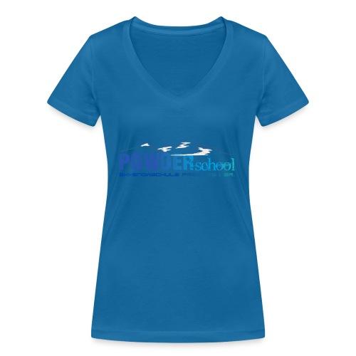 POWDERschool T-Shirt blau - Frauen Bio-T-Shirt mit V-Ausschnitt von Stanley & Stella