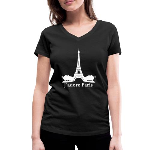 Design j'adore paris ma ville - T-shirt bio col V Stanley & Stella Femme