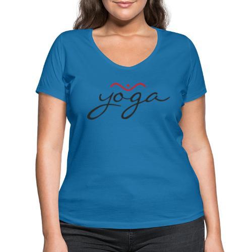Yoga Balancing Typography And Emblem 1 - Frauen Bio-T-Shirt mit V-Ausschnitt von Stanley & Stella