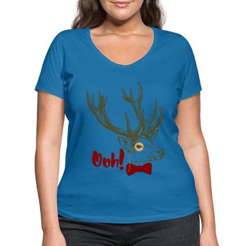 Funny Ooh DEER vintage bow tie monocle design - Frauen Bio-T-Shirt mit V-Ausschnitt von Stanley & Stella
