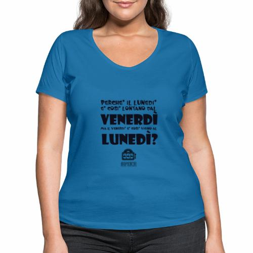 SPIKE-lunedi-venerdi-nero - T-shirt ecologica da donna con scollo a V di Stanley & Stella