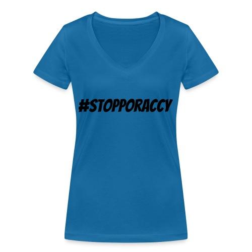 Stop Poraccy - T-shirt ecologica da donna con scollo a V di Stanley & Stella