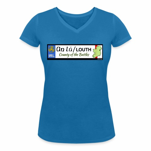 CO. LOUTH, IRELAND: licence plate tag style decal - Women's Organic V-Neck T-Shirt by Stanley & Stella