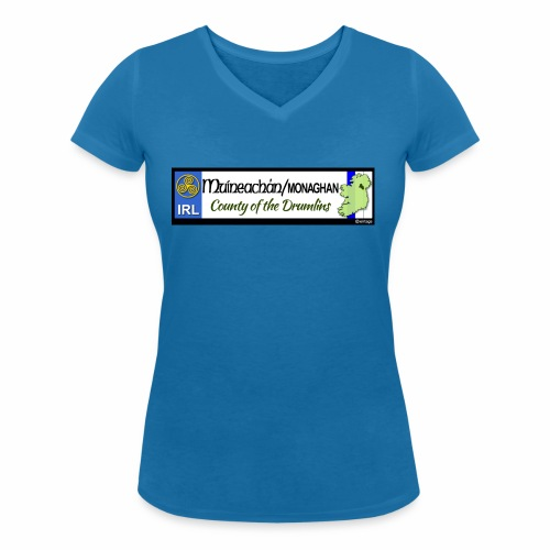 MONAGHAN, IRELAND: licence plate tag style decal - Women's Organic V-Neck T-Shirt by Stanley & Stella