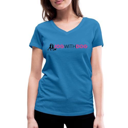 Jog with Dog - Laufen Joggen mit Hund Hundesport - Frauen Bio-T-Shirt mit V-Ausschnitt von Stanley & Stella