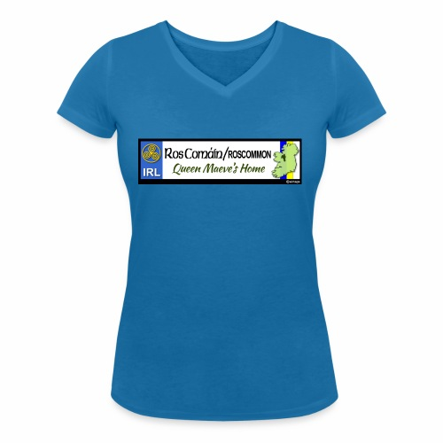 ROSCOMMON, IRELAND: licence plate tag style decal - Women's Organic V-Neck T-Shirt by Stanley & Stella