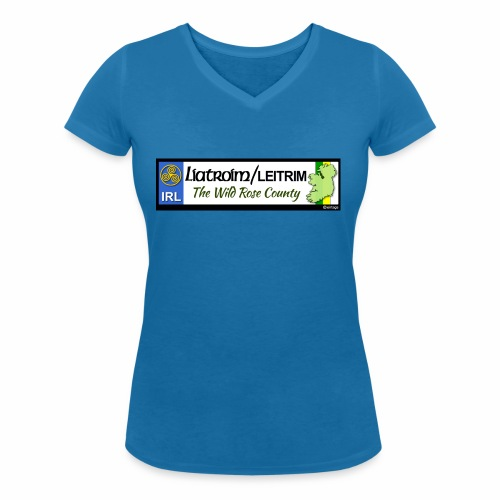 LEITRIM, IRELAND: licence plate tag style decal eu - Women's Organic V-Neck T-Shirt by Stanley & Stella