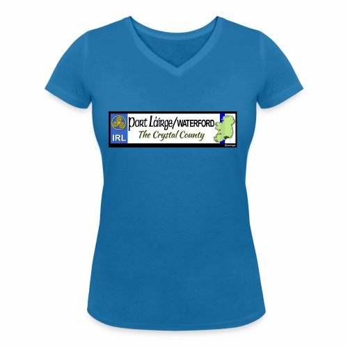 WATERFORD, IRELAND: licence plate tag style decal - Women's Organic V-Neck T-Shirt by Stanley & Stella