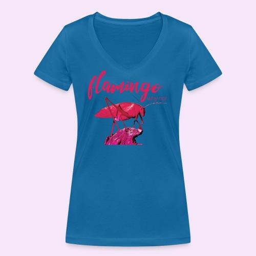 Wannabe Flamingo Sprinkhaan HOT PINK BABY - Vrouwen bio T-shirt met V-hals van Stanley & Stella