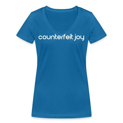 Counterfeit Joy text logo - Women's Organic V-Neck T-Shirt by Stanley & Stella