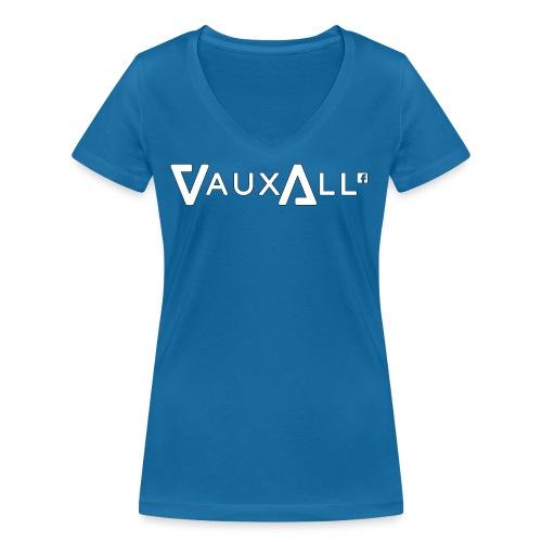 VauxAll Logo   White   Original - Women's Organic V-Neck T-Shirt by Stanley & Stella