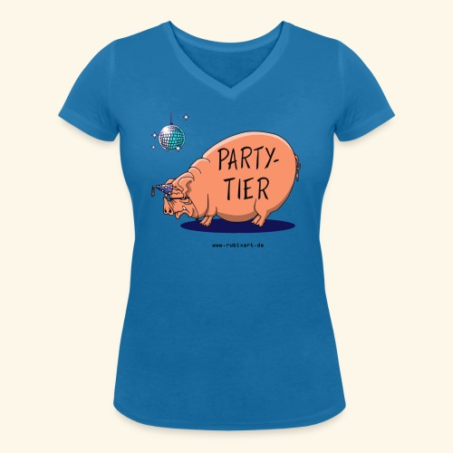 Partytier Schwein Fete Feier Party Sau - Frauen Bio-T-Shirt mit V-Ausschnitt von Stanley & Stella
