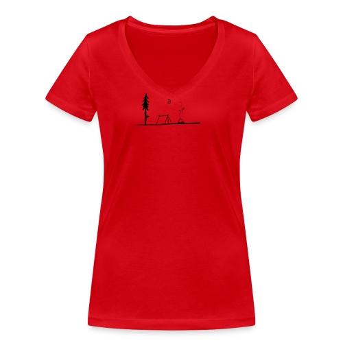 Landscape camping fire - T-shirt ecologica da donna con scollo a V di Stanley & Stella
