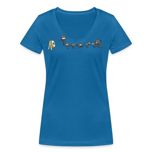 ninja school - Women's Organic V-Neck T-Shirt by Stanley & Stella