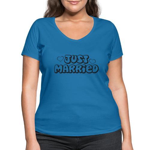 JUST MARRIED Partner Namen schwarz - Frauen Bio-T-Shirt mit V-Ausschnitt von Stanley & Stella
