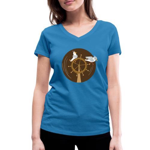 Freche Möwen spielen auf Steuerrad eines Schiffes - Frauen Bio-T-Shirt mit V-Ausschnitt von Stanley & Stella