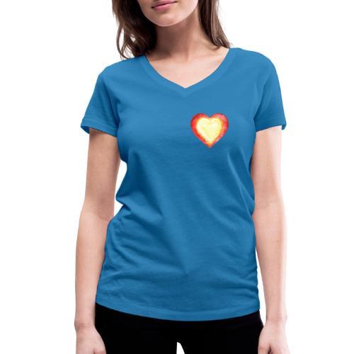 Burning Fire Heart - Women's Organic V-Neck T-Shirt by Stanley & Stella