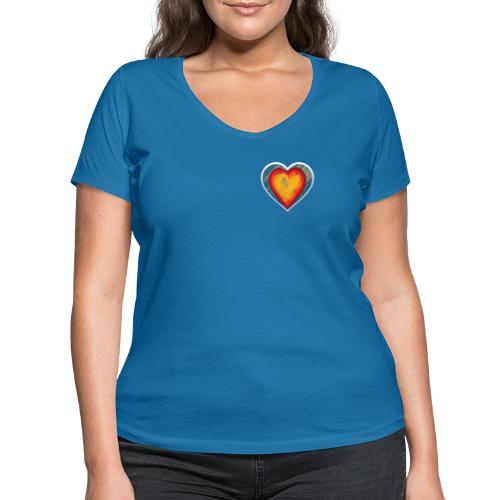 Warm lovely heart - Women's Organic V-Neck T-Shirt by Stanley & Stella