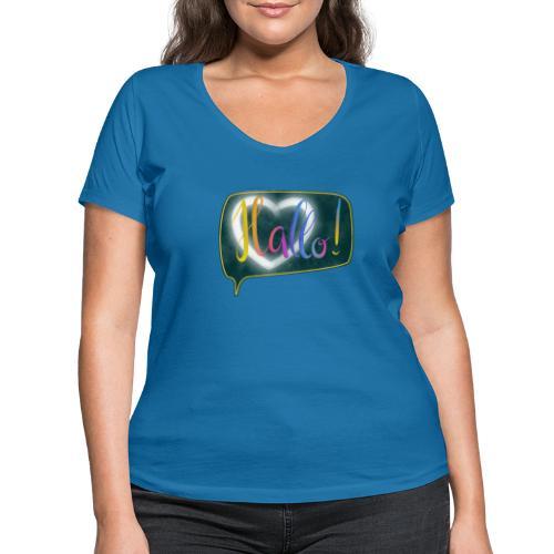 Hallo! Lettering mit Herz in Sprechblase - Frauen Bio-T-Shirt mit V-Ausschnitt von Stanley & Stella