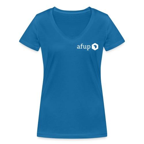 Le logo AFUP en blanc - T-shirt bio col V Stanley & Stella Femme