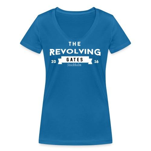 Rock n roll t-shirt by the Revolving Gates - Women's Organic V-Neck T-Shirt by Stanley & Stella