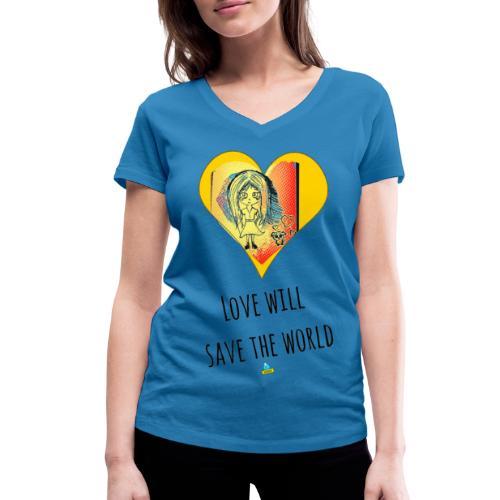 Love will save the world - T-shirt ecologica da donna con scollo a V di Stanley & Stella