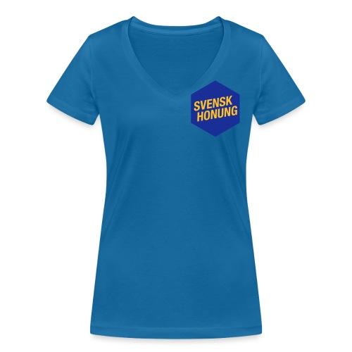 Svensk honung Hexagon Blå/Gul - Ekologisk T-shirt med V-ringning dam från Stanley & Stella
