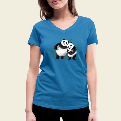 Pandafamilie Baby - Frauen Bio-T-Shirt mit V-Ausschnitt von Stanley & Stella