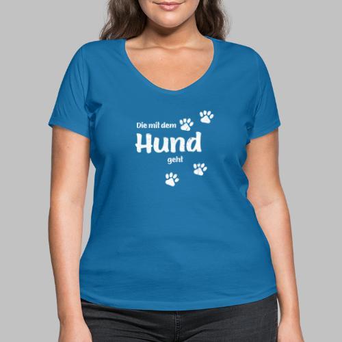 Die mit dem Hund geht - Used Look - Hundepfoten - Frauen Bio-T-Shirt mit V-Ausschnitt von Stanley & Stella