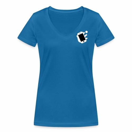 Smartphone-Tennis Logo Print - Frauen Bio-T-Shirt mit V-Ausschnitt von Stanley & Stella