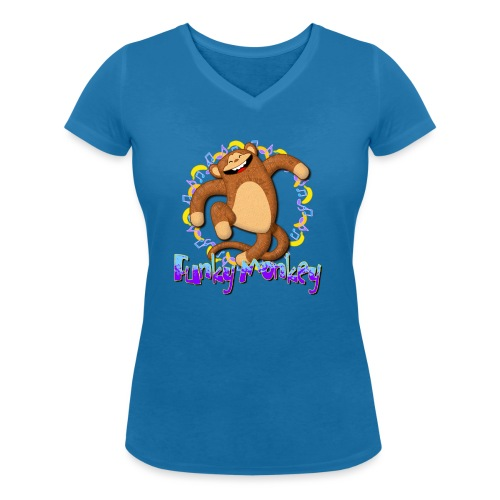 Funky Monkey - T-shirt ecologica da donna con scollo a V di Stanley & Stella