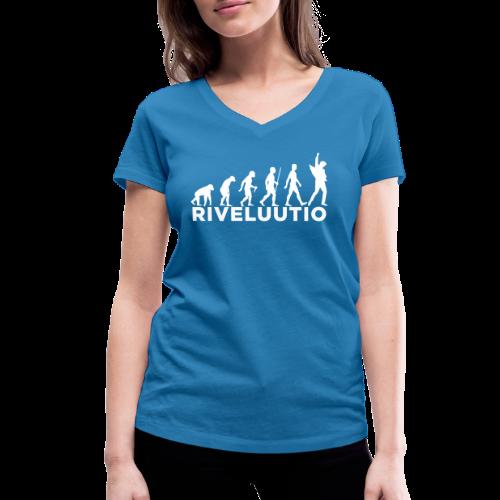 Riveluutio - Stanley & Stellan naisten v-aukkoinen luomu-T-paita