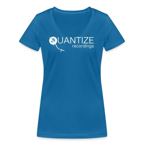 Quantize White Logo - Women's Organic V-Neck T-Shirt by Stanley & Stella