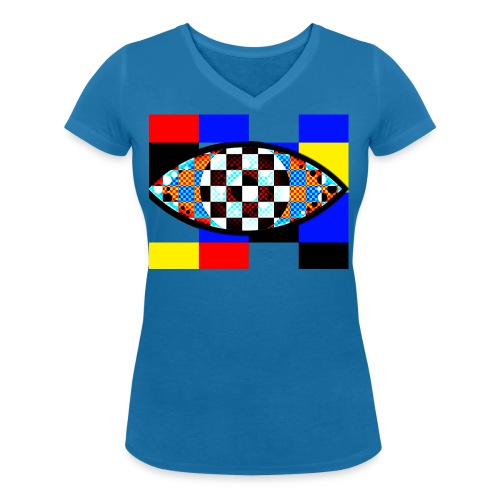 eye with squares in strong colors - Women's Organic V-Neck T-Shirt by Stanley & Stella