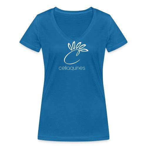 logograndeceliaquinesblanco png - Camiseta ecológica mujer con cuello de pico de Stanley & Stella