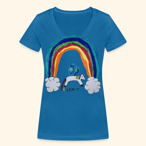 LeniT For Unicorns Only - Stanley & Stellan naisten v-aukkoinen luomu-T-paita