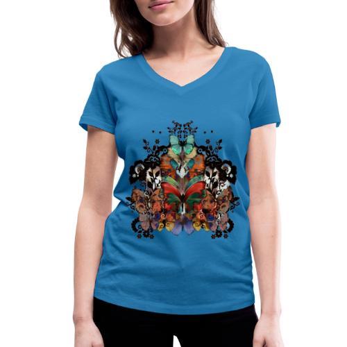 Lace and Butterflies - T-shirt ecologica da donna con scollo a V di Stanley & Stella
