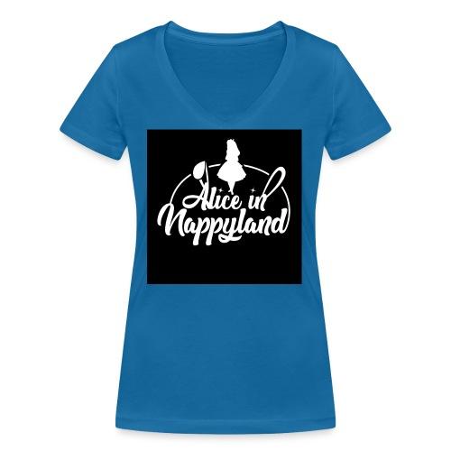 Alice in Nappyland TypographyWhite 1080 - Women's Organic V-Neck T-Shirt by Stanley & Stella