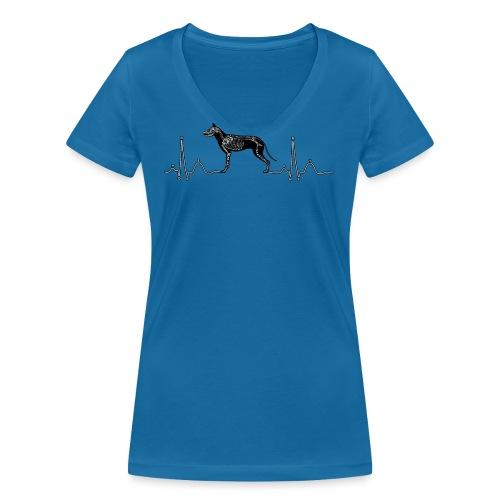 ECG met hond - Vrouwen bio T-shirt met V-hals van Stanley & Stella