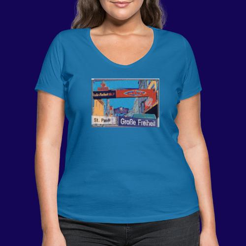 Große Freiheit, Hamburg-St. Pauli | Künstler Motiv - Frauen Bio-T-Shirt mit V-Ausschnitt von Stanley & Stella