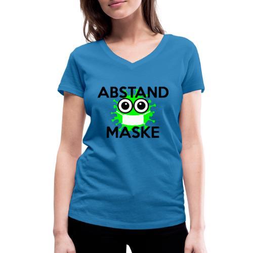 Mit Abstand und Maske gegen CORONA Virus - schwarz - Frauen Bio-T-Shirt mit V-Ausschnitt von Stanley & Stella
