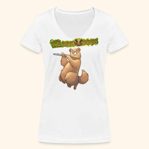 Tshirt Flute devant 2 - T-shirt bio col V Stanley & Stella Femme