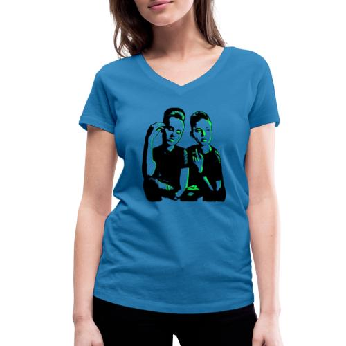 ATTITUDE<>WOKE (neon green) - Økologisk Stanley & Stella T-shirt med V-udskæring til damer