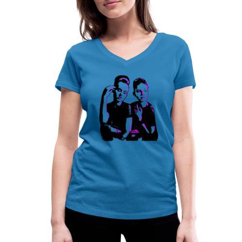 ATTITUDE<>WOKE (pink) - Økologisk Stanley & Stella T-shirt med V-udskæring til damer