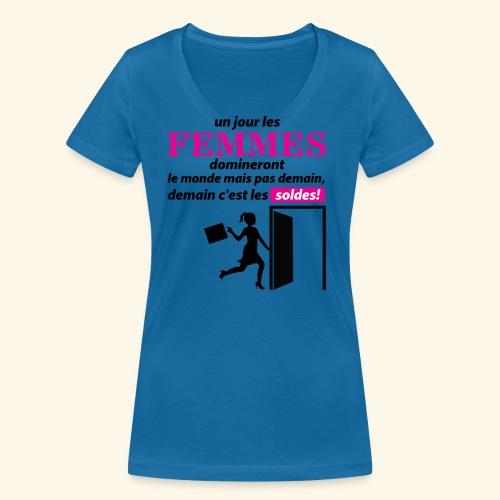 Un jour les femmes.. - T-shirt bio col V Stanley & Stella Femme