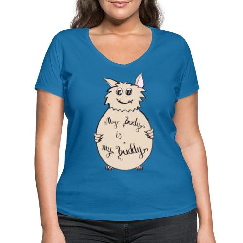 My body is my buddy - freundliches Monster - Frauen Bio-T-Shirt mit V-Ausschnitt von Stanley & Stella