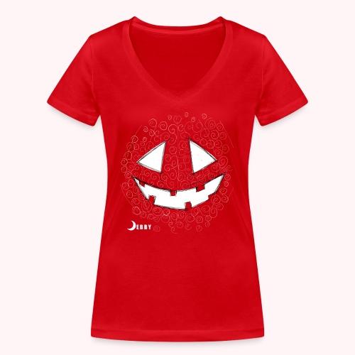 PUMPKIN FACE - 🍂FALL COLLECTION by DEBBY🍁 - T-shirt ecologica da donna con scollo a V di Stanley & Stella