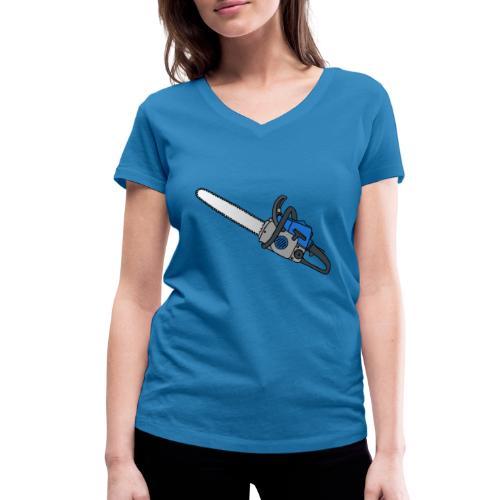 Kettensäge - Frauen Bio-T-Shirt mit V-Ausschnitt von Stanley & Stella