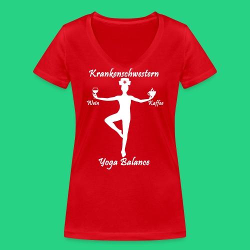 Krankenschwestern Yoga - Frauen Bio-T-Shirt mit V-Ausschnitt von Stanley & Stella
